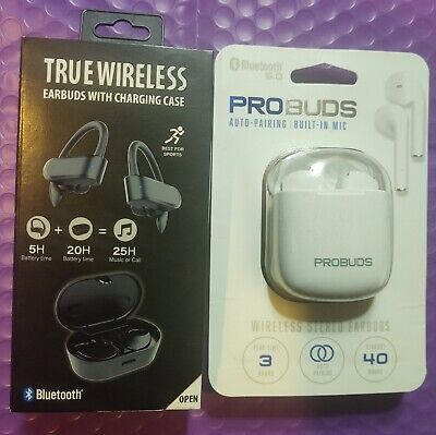 $ CDN27.57 • Buy PROBUDS Or TRUE WIRELESS Bluetooth Earbuds With Charging Case White Or Black