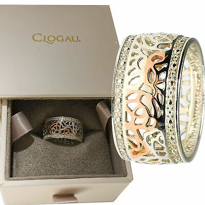Clogau Ring N Size Royal Roses Wide Band Silver Welsh 9ct Rose Gold • 89.99£