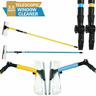 3.5 M Telescopic Window Cleaning Metal Conservatory Glass Cleaner With Squeegee • 18.95£