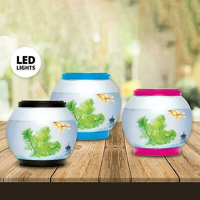 5 Litre Glass Aquarium Led Light Round Bowl Fish Tank Goldfish Accessories • 14.74£
