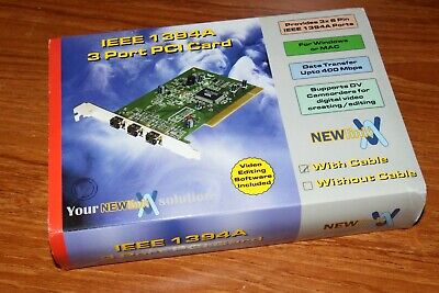 NewLink Solution IEEE 1394A Firewire 3 Port PCI Card Complete BOX With Cable • 24£