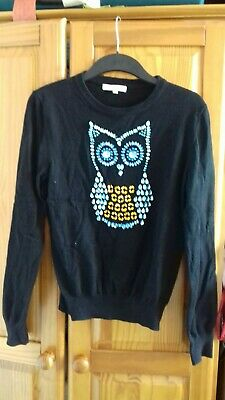 Glamorous Sparkly Jewelled Owl Jumper Black 12 Blue Orange • 6£