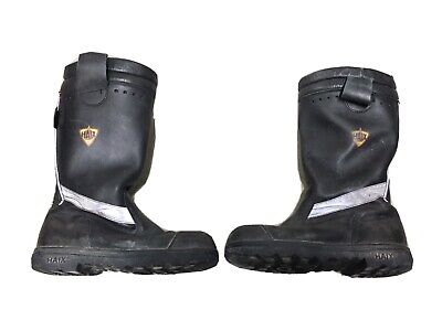 $74.97 • Buy HAIX Black Leather Fire Hunter US Steel Toe Boots Mens Size 9.5 W Firefighter