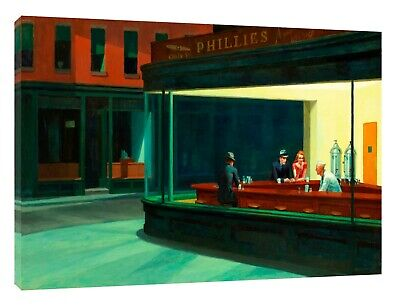 £9.49 • Buy Nighthawks 1942 By Edward Hopper Painting Reprint On Framed Canvas Wall Art Home