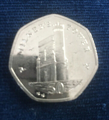 🇮🇲2015 ISLE OF MAN MANX MILNERS TOWER 50p PENCE COIN CIRCULATED🇮🇲 • 1.30£