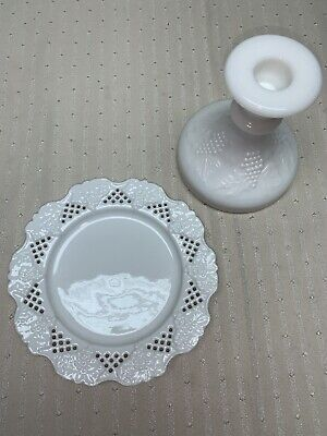 $12 • Buy Vintage Milk Glass Candle Holder And Dish Grapes And Leaves Pattern Reticulated