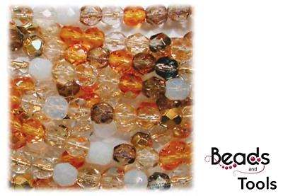 AU5.40 • Buy Czech Fire Polished Glass Beads 6mm HONEY BUTTER MIX (25pc) - BEADS & TOOLS