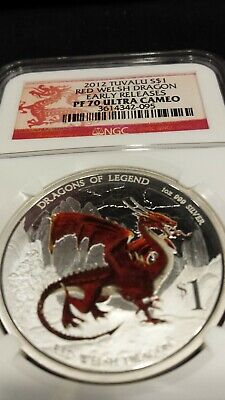 $240 • Buy 2012-P Tuvalu 1 Oz Silver Dragons Of Legend - Red Welsh Dragon NGC PF70 UC ER