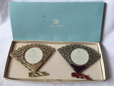 Pewter Past Time Pair Photos Fan Frame • 24£