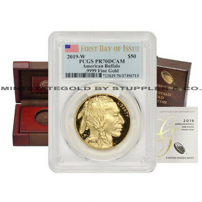 $2279 • Buy 2019-W $50 Gold Buffalo PCGS PR70DCAM FDOI Deep Cameo First Day Of Issue W/OGP
