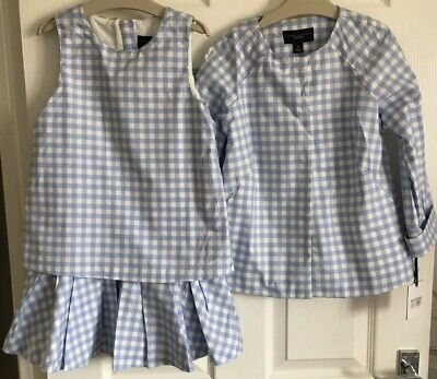 Girls Age 6-7 Years Blue Checked Dress And Jacket VICTORIA BECKHAM • 0.99£