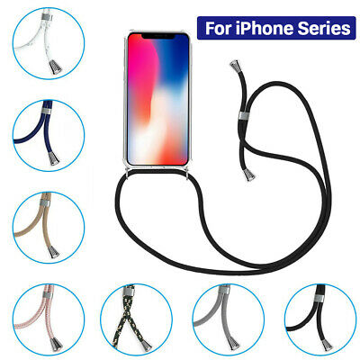 For IPhone 6/7+ X Series Cross Body Phone Clear TPU Case With Neck Lanyard Strap • 4.79£