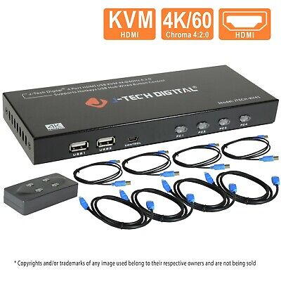 AU117.97 • Buy J-Tech Digital 4 Port HDMI KVM Switch W/USB/HDMI Cables,Monitor/Control Computer
