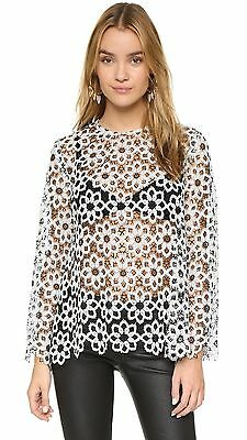 $150 • Buy ZIMMERMANN Empire Guipure Lace Embroidered Blouse Top - Black / Natural 0 XS