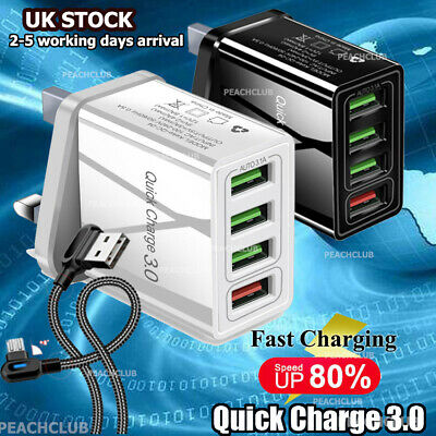 4 Ports USB UK Plug Fast Charging Smart Mobile Phone Wall Charger Adapter Q3.0 • 5.91£