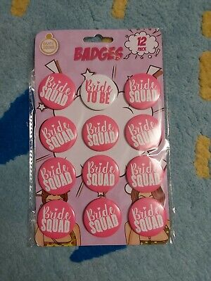 £3.80 • Buy 12 Hen Party Badge Bride To Be Squad Night Favours Keepsakes Bridesmaid Presents