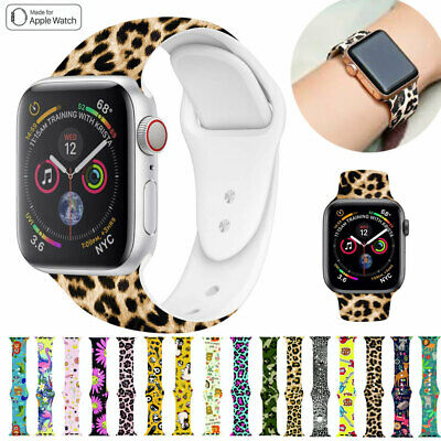 AU11.89 • Buy For Apple Watch Band Series 5 4 3 2 1 Pattern Printed Silicone IWatch Strap Band