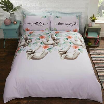 £11.99 • Buy Lazy Sloth Lilac Single Double Duvet Cover Bedding Set With Pillowcases