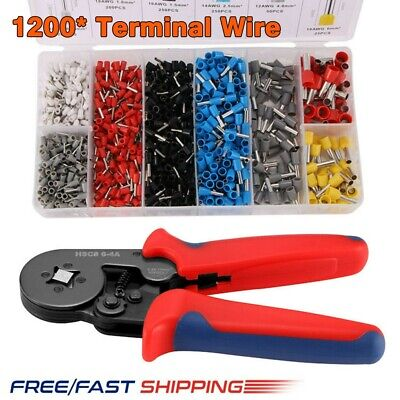 1200X Ferrule Crimper Cable Tube Crimping Plier Tool Wire Terminal Connector Set • 13.98£