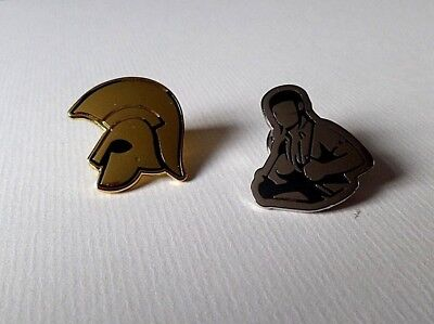 TROJAN HELMET (gold) SKINGIRL OI! SKA PUNK METAL BADGE Fiver Deal SECONDS • 4.99£