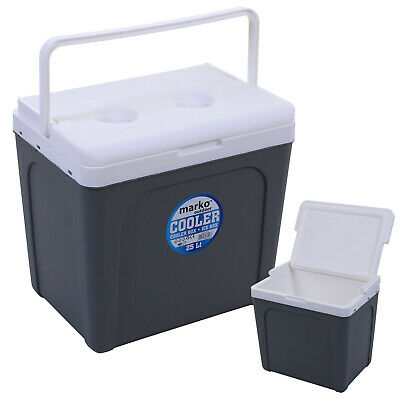 25l Coolbox Grey Outdoor Camping Picnic Festival Cooler Ice Box Food Drinks New • 24.99£