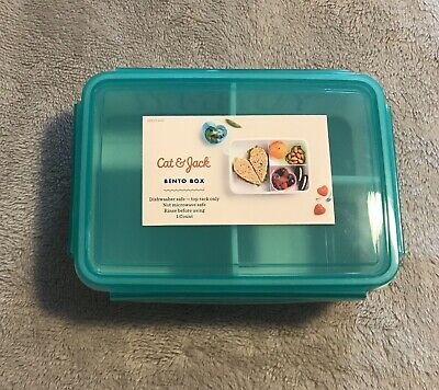 AU10.68 • Buy Cat & Jack Yum! Yummy! 3 Compartment Bento Box With Snap Lid White/Teal New
