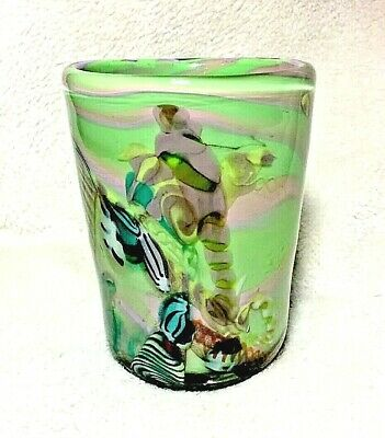 $62.55 • Buy Green Pink Fused Thick Hand Blown Art Studio Glass Small Vase Heavy