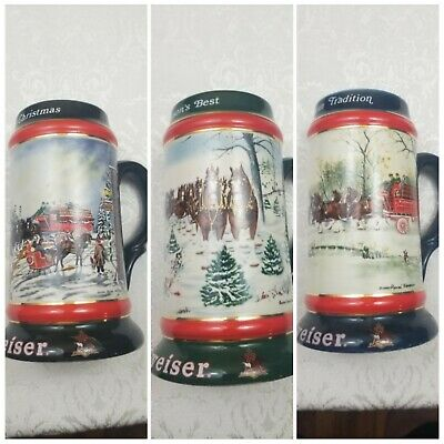 $ CDN39.53 • Buy Lot Of 3 Vintage Budweiser Holiday Beer Stein 1990,1991,1992 Collectible