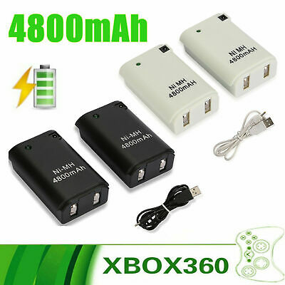 $10.25 • Buy 2X For Xbox 360 Wireless Controller Rechargeable Battery Pack USB Charger Cable