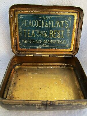 Antique  Vesta Tin / Match Holder Advertising TEA Is The BEST With Mirror Lid • 18£