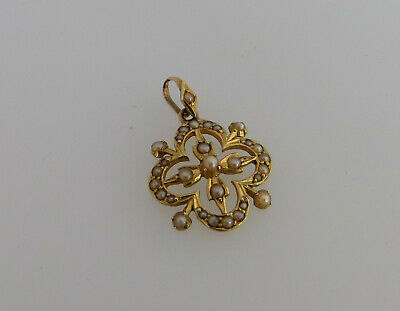 Victorian Edwardian Style Yellow Gold & Seed Pearl Pendant Stamped 15ct No Chain • 250£