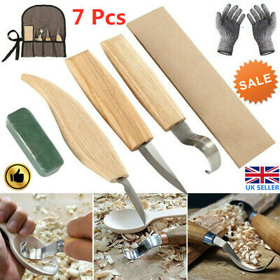 £12.39 • Buy 7pcs Wood Carving Knife Set Chisel Woodworking Whittling Cutter Chip Hand Tools