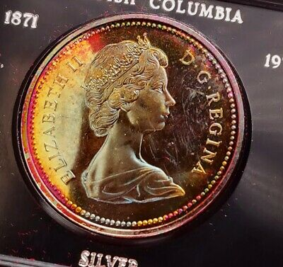 $3.25 • Buy 1971 Canada Silver One Dollar Coin British Colombia Original Box Colorful TONING