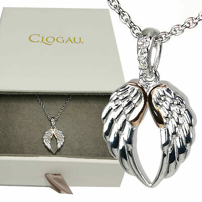 Clogau Pendant Topaz Welsh Rose Gold Silver Seraphina Angel Wings 22  Chain • 89.99£