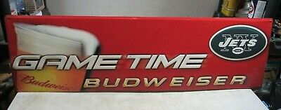 $ CDN120.28 • Buy Vintage 2003 Budweiser Beer New York Jets Football Tin Metal Sign Game Time