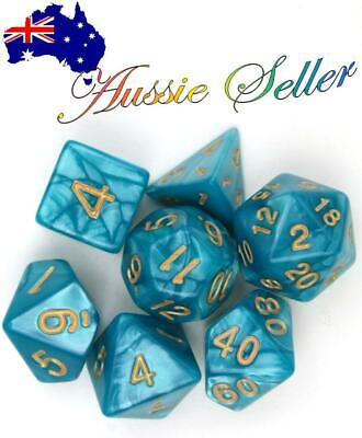 AU8.98 • Buy  Dice Set Dungeons & Dragons Polyhedral Teal & Gold 7 Piece Pearl Dice Dnd RPG