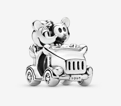 💎🎀 Sterling Silver 925 Disney Minnie & Mickey Mouse Classic Car Charm &pouch • 13.99£