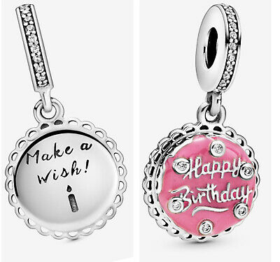 💎🎀 Sterling Silver 925 Happy Birthday Cake Make A Wish Charm & Gift Pouch • 18.50£