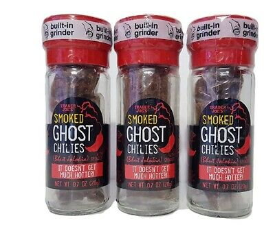 $25 • Buy 3 Trader Joe's Smoked Ghost Chiles Bhut Jolokia Pepper 0.7 Oz Glass Grinder Hot