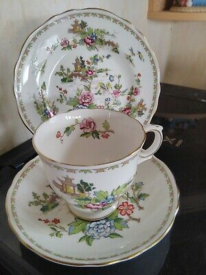 Crown Staffordshire PAGODA Tea Trio Cup,Saucer & Side Plate Ref 62 • 12£