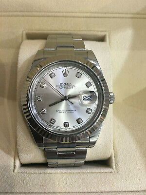 $ CDN9274.24 • Buy Rolex 41MM Datejust 2 Watch 18K Fluted Bezel Stainless Steel Ref 116334 Diamonds