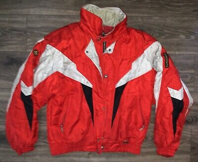 $98.99 • Buy Vintage Descente Red Silver Black Full Zip Hidden Hood Men's Ski Jacket XL