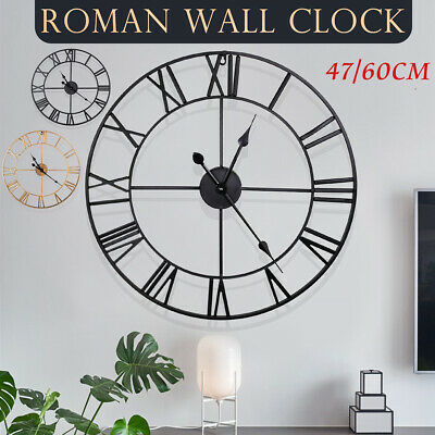 AU39.99 • Buy 47/60cm Large Outdoor Garden Roman Wall Clock Big Numeral Giant Round Face Black