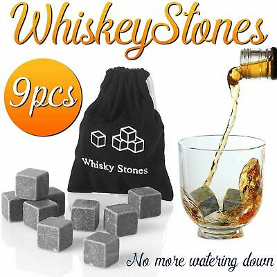 £3.45 • Buy 9 Whisky Ice Stones Drinks Whiskey Scotch Cooler Cubes Rocks Granite & Pouch