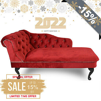 £169.99 • Buy 🇬🇧 Red Velvet Tufted Buttoned Chesterfield Chaise Lounge Bedroom Accent Chair