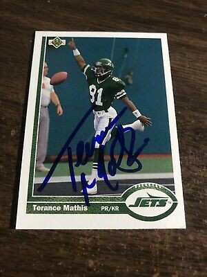 $0.95 • Buy Terance Mathis Signed/Autograph 1991 Upper Deck Football Card New York Jets