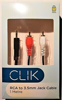 CLIK 3.5mm MINI JACK TO STEREO RCA CABLE 1M Smartphone Media Player To Analogue • 3.99£