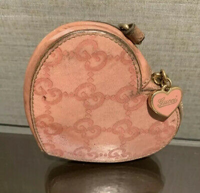 $115 • Buy Authentic Gucci Vintage Pink Leather Guccissima GG Coin Pouch Case + Accessories