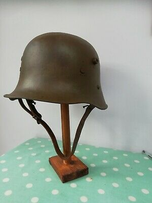 WW1 Austrian Trench Helmet. Original Shell And Liner Band. • 110£