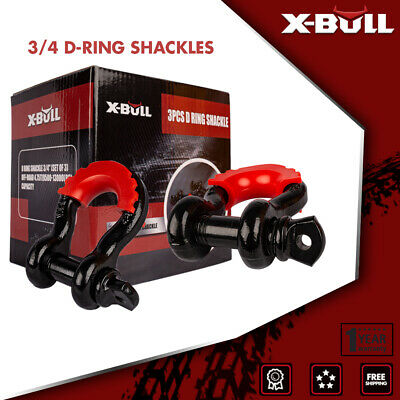 $27.90 • Buy X-BULL D Ring Shackle Bow 3pcs 3/4  Black Isolator 5T Offroad Truck Recovery